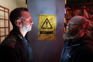 Euan Noble and Benn Stoker at the new escape room in Brighouse