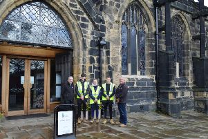 Calderdale College Construction apprentices at Halifax Minster during National Apprenticeship Week