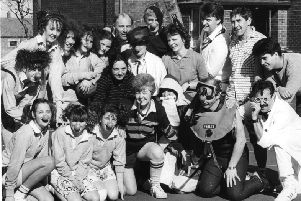 Comic relief red nose day  March 1989  Staff and pupils at Redwell Comprehensive competed in a fancy dress netball  match for Comic Relief.