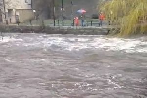 Flooding in Hebden Bridge on Saturday, March 16. Photo by Otto Ziener