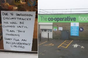 The scene at the Co-op store in Queensbury this morning