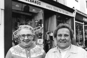 The two popular ladies outside the  Axelbands baby shop.