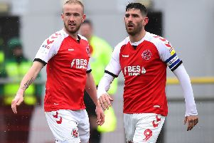 Fleetwood Town's Paddy Madden and team-mate Ched Evans