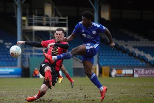 Halifax v Solihull at The Shay. Devante Rodney