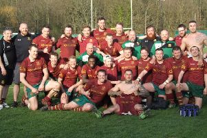 Heath v Old Crossleyans''Heath celebrate clinching the runners-up spot in Yorkshire One