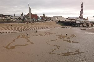 It took six hours to create the artwork on the beach at Blackpool