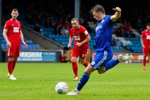 Actions from Halifax Town v Leyton Orient, at The Shay