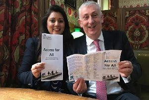 Parliamentary Under-Secretary of State at the Department for Transport, Nus Ghani MP, with Chorley MP and Deputy Speaker of the House of Commons, Sir Lindsay Hoyle