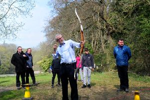 Labour leader Jeremy Corbyn pictured during his visit to Sunnyvale Fishery and Outdoor Activity Centre, Halifax..15th April  2019.Picture by Simon Hulme