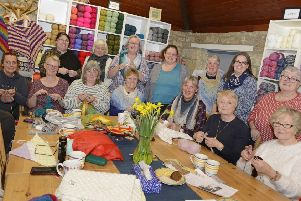 A group at a Friday afternoon Craft2gether session in Black Cat Yarns, Morpeth. Picture by Jane Coltman.