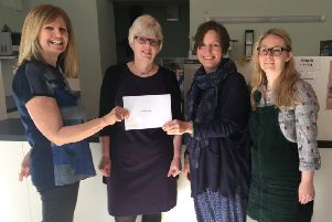 NSF Health Sciences employees Stella, Sally and Aimee with Nicky Gladstone (Carecent project Leader) .