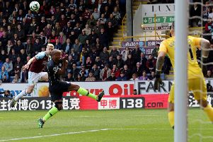 Ben Mee lifts a first half volley over