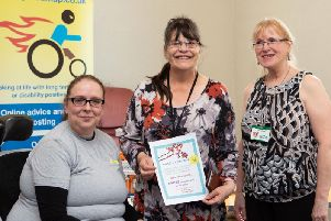 Alison Schofield from Disability Roadmap, with Margery Longstaffe and Barbara Clay, from Calderdale Council, at Disability Partnership Calderdale launch of their National Lottery Community Fund, three year project, The Kings Centre, Halifax