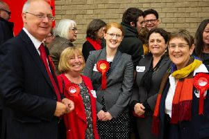 Labour MP Holly Lynch, with councillors, at Calderdale Council election count 2019, NBLC, Halifax