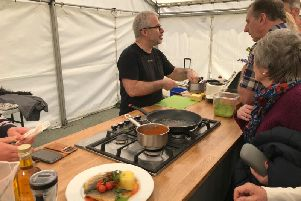Jeremy Hollingsworth, of Jeremy's in Scarborough, gave a demonstration on creating a sea bream dish on Saturday.