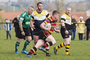 Rugby League - Elland v Brighouse Rangers. Karl Frankland for Brighouse.