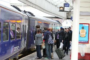 Passengers at Halifax train station