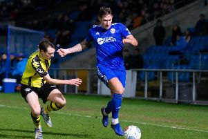 Ben Tomlinson, FC Halifax Town v Harrogate Town at the Shay, Halifax