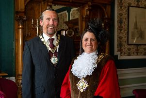 New Mayor of Calderdale, coun Dot Foster, with consort Mick Foster, pictured in the mayors parlor, Halifax Town Hall