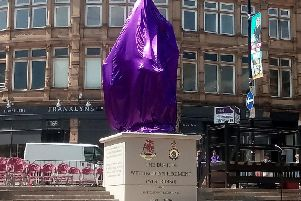 The monument under wraps in Woolshops shopping centre