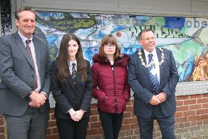 Caedmon College Head Simon Riley, Caedmon College student Lexie Breckon, Eskdale School student Leona Taylor and Borough Mayor Cllr Joe Plant.