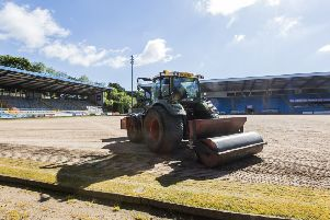 The MBI Shay Stadium pitch is prepared for seeding.