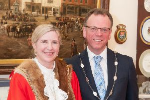 Mayor of Morpeth Alison Byard with husband Steve, who will be her Escort. Picture by Ken Stait.