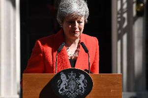 Prime Minister Theresa May makes a statement outside 10 Downing Street on May 24, 2019 in London, England. The prime minister has announced that she will resign on Friday, June 7, 2019.  (Photo by Leon Neal/Getty Images)