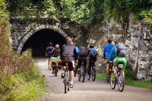 Cyclists at the South portal at Queensbury Tunnel. Photo: Queensbury Tunnel Society