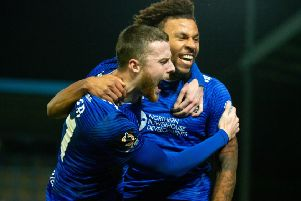 Jonathan Edwards celebrates his goal with Niall Maher, FC Halifax Town v Harrogate Town at the Shay, Halifax