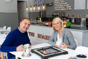 Paul and Nicola Middleton at their new board-game cafe, The Boardroom, Rochdale Road, Todmorden
