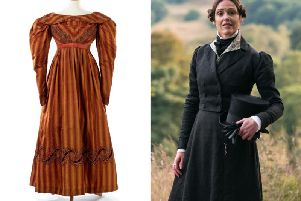 1820s era dress on display at the Fashion Gallery at Bankfield Museum, Halifax. Suranne Jones as Anne Lister (Lookout Point/HBO)
