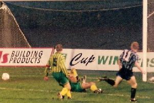 Steve Saunders scores for Town. Halifax 2-1 West Brom, FA Cup first round, 1993. Photo courtesy of Johnny Meynell