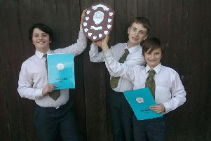Reuben and Sam Scholefield 11, who attend North Halifax Grammar School and Alfie Challenor, 13 from Lightcliffe Academy swept the board at the Northern Area Young Farmers Public Speaking Competition in March