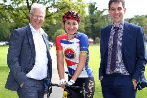 Michael Leather and Ryan Harrison with Paralympic cyclist Dame Sarah Storey, who spoke to Harrogate businesspeople in the run-up to the UCI Road World Cycling Championships in September 2019. Picture: Richard Doughty Photography