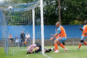 Farsley Celtic v Halifax Town.. Halifax player Josh Staunton scores the opening goal..13th July 2019.Picture by Simon Hulme