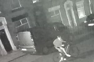 Police are particularly keen to speak to the pictured cyclist (below) as a potential key witness