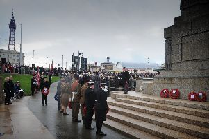 Service of remembrance at Blackpool cenotaph to mark the centenary of Armistice Day.'Wreaths are laid.  PIC BY ROB LOCK'11-11-2018
