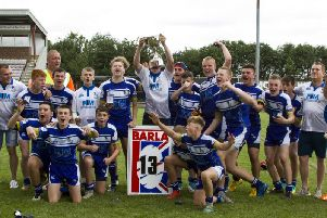 The Lock Lane team celebrate after beating Ryland Sharks 19-18 to win the Nick Smith Foundation Trophy. Picture: Dennis Whipp  #DennisRugbyLeaguePhotos