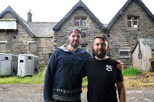 Ben Stubbs and Mike Richardson with the building that will house the Rivington Brewing Co bar at Home Farm in Anderton (JPIMedia)