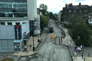 Road works at Station Parade in Harrogate.