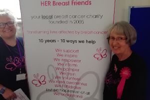 Pocklington WI members wear pink to salute the work of HER (Hull and East Riding) Breast Friends.