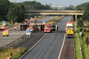 A full closure of the M58 is in force this morning after a lorry crossed the central reservation and overturned after colliding with a number of vehicles. Credit: @Salford99