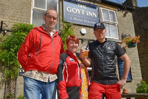 The Goyt Inn, Whaley Bridge are selling Chinook Beer, with money going to Buxton Mountain Rescue, pictured are landlord Tony Gunner, landlady Jennifer Grant and Edward Dalton of BMR