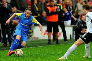 Liam Blades, pictured in action for Barnoldswick Town, scored the winner for Nelson at Bacup Borough