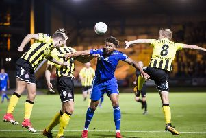Jonathan Edwards in action for Halifax against Fylde at The Shay last season