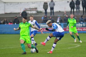 Action from Barrow v Halifax last season at Holker Street. Photo: NW Mail/Donna Clifford