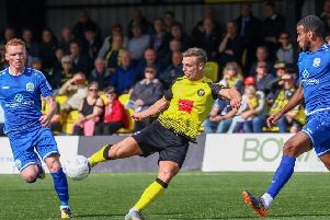 Jack Muldoon shoots at goal during Harrogate Town's home defeat to Dover Athletic. Picture: Matt Kirkham
