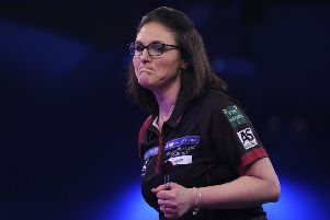 CAMBERLEY, ENGLAND - JANUARY 11: Lorraine Winstanley of England celebrates during her semi-final match against Anastasia Dobromyslova of Russia during Day Seven of the BDO World Darts Championship at Lakeside Country Club on January 11, 2019 in Camberley, England. (Photo by Alex Burstow/Getty Images)