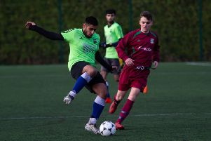 Actions from Panda FC v Pond FC, at Calderdale College. Pictured is Awais Khan and Josh Van Gesten
